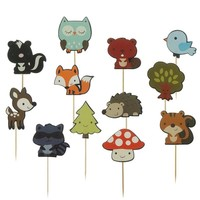 Cute Woodland Animals Cake Topper Decorative Cupcake Picks |Woodland Theme/Woodland Party/Woodland Birthday/Woodland Toppers/Forest Animals
