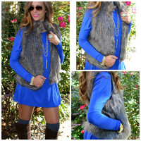 SZ LARGE Waiting Fur You Charcoal Faux Fur Vest
