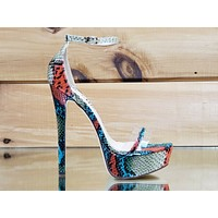 "Roelle Colorful Multi Snake Platform 6"" High Heel Shoe US Sizes 6 -11"