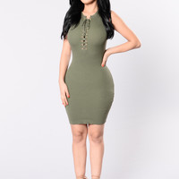 Keep Me Up Dress - Olive