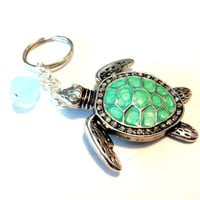 Abalone Shell Sea Turtle Keychain, Beach Lover Accessory, Wire Wrapped Sea Foam Green Sea Glass Keychain, Gift for Turtle Lover