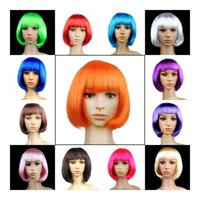 Women's Sexy Short Bob Cut Fancy Dress Wigs Play Costume Ladies Full Wig
