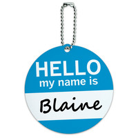 Blaine Hello My Name Is Round ID Card Luggage Tag