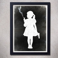 Girl smoking and holding a gun poster print black white goth dark art funny original gift