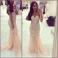 Sexy Mermaid Long Prom Dresses Formal Evening Party dress Ball Gown