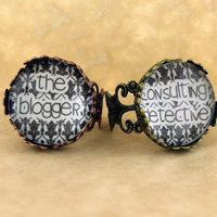 """SHERLOCK BBC """"Consulting Detective"""" & """"The Blogger"""" Friendship Rings, Vintage Style Filigree Sherlock Holmes,Fan Jewelry, Great Gift"""