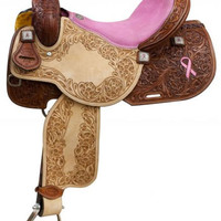 Saddles Tack Horse Supplies - ChickSaddlery.com Showman Argentina Cow Leather Barrel Saddle With Pink Hope Ribbon