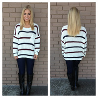 Burgundy & Navy Stripe Pocket Knit Sweater
