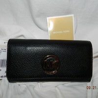 AUTHENTIC NEW MICHAEL KORS BLACK LEATHER CHECKBOOK WALLET CLUTCH NWT