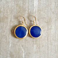 sweet gemstone fashion MEDIUM SIZE bold earrings bright candy classic blue jade stone  textured gold statment earrings israel jewelry