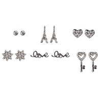 Set of 6 Stud Earrings with Eiffel Tower Love and Flowers