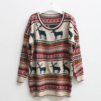 vintage deer classic women patterned sweater by ClothLess
