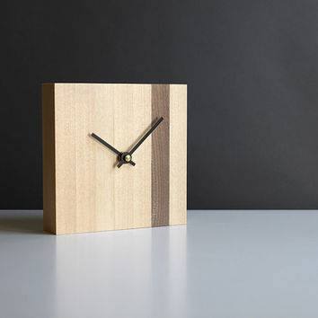 Modern 5.5 in. square desk clock walnut and birch wood with straight black hands