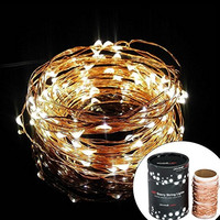 Divine LEDs [Gorgeous String Lights] Copper Wire Starry String Light, Soothing De©cor, Elegant Rope Light Suitable for Christmas, Weddings, Parties Waterproof (33' 100 LEDs)