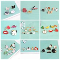 3~12 pieces/set Animal pins Fruit pins Cute brooches Kawaii badges Cat Pineapple Pins collection Gift for women girls