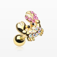 Golden Adorable Fiddler Crab Sparkle Cartilage Tragus Earring