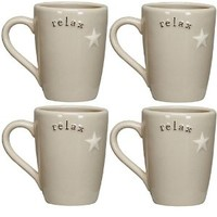 Relax - Stoneware Latte Coffee Tea Mug Set (4)