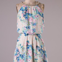 Pink and Blue Floral Dress with Rhinestone Detail
