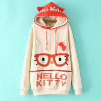 Korea cute glasses cat ear hooded fleece pullover