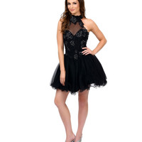 Black Halter Embroidered Tulle & Sequin Short Dress Prom 2015