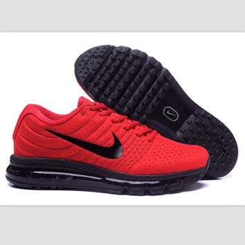 """""""NIKE"""" Trending Fashion Casual Sports Shoes AirMax section Red black hook soles"""
