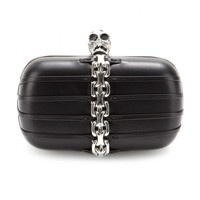 alexander mcqueen - skull chain-trimmed leather box clutch