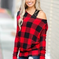 Easy to Love Black Red Plaid Off Shoulder Top Shop Simply Me Boutique SMB – Simply Me Boutique