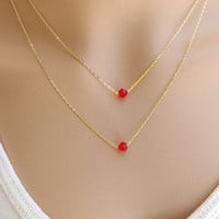 Red Crystal Pendant Layered Necklace