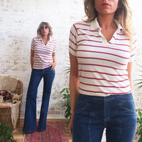 Vintage 1970's STRIPED Fitted Tomboy Golf Shirt || Ladies XS To S
