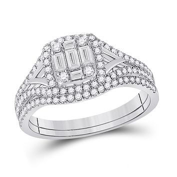 14k White Gold Baguette Diamond Bridal Wedding Ring Set 5/8 Cttw