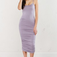 Ruched Midi Dress in Lavender and Niagara