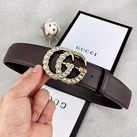 G GUCCI Fashion New Letter Pearl Buckle Women Men Leisure Belt Coffee With Box