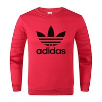 ADIDAS 2019 new chest classic big logo round neck long-sleeved sweater red