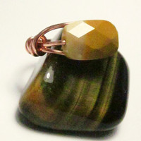 Australian Mookaite Handcrafted Faceted Stone Ring with Copper - Cream and Honey