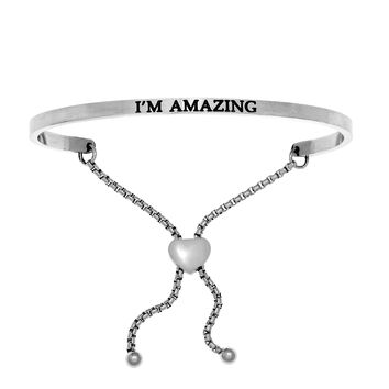 Intuitions Stainless Steel I'M AMAZING Diamond Accent Adjustable Bracelet