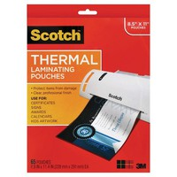 Scotch™ Thermal Laminating Pouches, Clear, 8.9 in x 11.4 in, 65-Pack