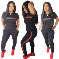 Red and Green Stripe Women Sets 2 pcs Sweatsuit Cotton Summer Suits Green and Red Striped Women outfit Two Piece Tracksuits