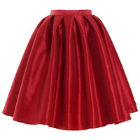 Red A-line Midi Skirt Red