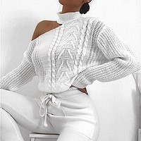 Women's Sweaters New Casual Solid Loose Sweater Bare Shoulders Knitted Pullovers Oversized Sweaters