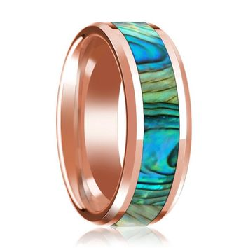 Mother of Pearl Inlaid 14k Rose Gold Polished Wedding Band for Men with Beveled Edges - 8MM