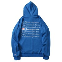 Champion Trending Unisex Stylish Loose Long Sleeve Hooded Embroidery Print Sweater Top Sweatshirt Blue I-CP-ZDL-YXC