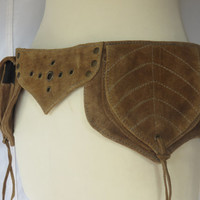 Festival Utility belt Steampunk hippie psytrance style in Light Brown Suede - Pixie Leaf Model