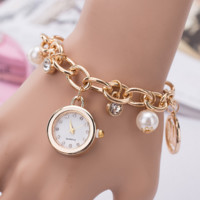 Fashion Unique Alloy Pendant Diamond Bracelet Watch