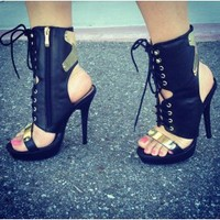 Peep Toe Lace Up Boot