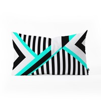 Elisabeth Fredriksson Turquoise Stripe Combination Oblong Throw Pillow