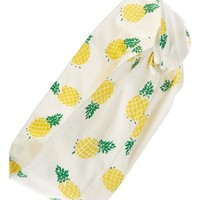 Lulu Pineapple Print Head Wrap - White