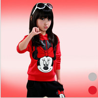 baby girls clothing sets cartoon minnie mouse 2015 winter children's wear cotton casual tracksuits kids clothes sports suit