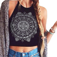Women Fashion Summer Cool Mandala Print Halter Neck Round Neck Vest Crop Top New Arrival