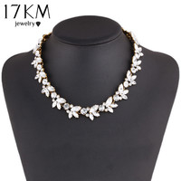 Fashion Charm Crystal bib choker Necklace rhinestone gem flower Chain Necklace jewelry for women