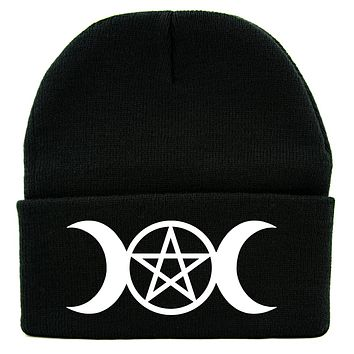 Crescent Moon Triple Goddess Symbol Cuff Beanie Knit Cap Wiccan Alternative Clothing
